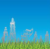 Oil rig and pump, blue background with grass.