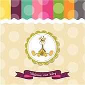 baby shower card with baby giraffe