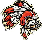Indian Chief Football Mascot Wearing Helmet with Feathers Vector