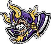 Viking Football Mascot Wearing Helmet with Horns Vector Illustra