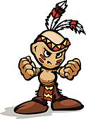Tough Indian Kid with Feathers showing Fists Vector Cartoon Illu