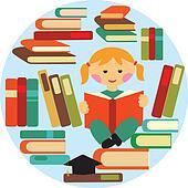 girl reading on pile of books