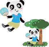 lovely panda in summer