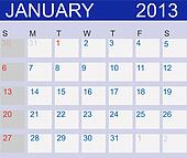 Calendar 2013. January. Vector Illustration