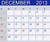 Calendar 2013. December. Vector Illustration