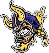 American Football Viking Mascot Wearing Helmet with Horns Vector