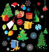 colorful vector christmas set isolated on black^ gifts, trees, snowflakes and other stuff