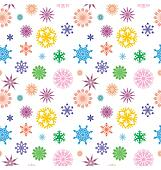 vector colorful different snowflakes isolated on white seamless and bright