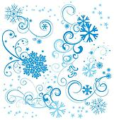 vector set of blue snowflakes with flourishes and stars isolated on white background