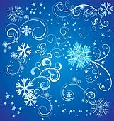 vector set of blue snowflakes with flourishes and stars  on blue background