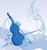 retro violin winter illustration