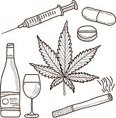 Illustration of narcotics - marijuana, alcohol and other