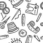 Sewing seamless pattern - hand drawn illustration