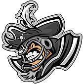 American Football Pirate or Raider Mascot Wearing Helmet with Ha