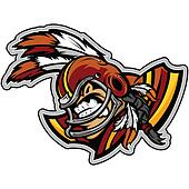 American Football Indian Brave Mascot Wearing Helmet with Feathe