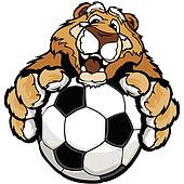 Cute Happy Cougar or Mountain Lion Mascot with Soccer Ball Vecto