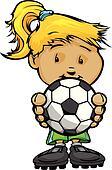 Smiling Football Girl holding Soccer Ball Vector Cartoon Illustr
