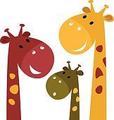 Cute giraffe family isolated on white