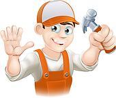 Carpenter or builder with hammer