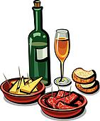 spanish appetizers and wine