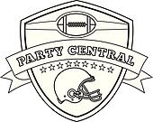 American Football Helmet Shield Line Drawing