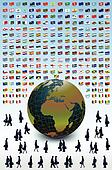 Business Earth, people and flags. Vector