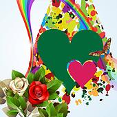 Colorful background with hearts