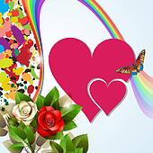 Colorful background with red hearts