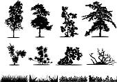 Trees, bushes and grass silhouettes