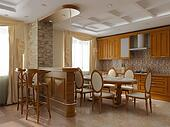 3d rendering. Interior of a dining room and kitchen in classical style in light tones and a stone wall
