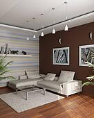 3d rendering. Meeting room with an angular sofa and pictures on a brown wall