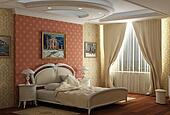 3d rendering. Bedroom with the big double bed with white bed. Design in classical style