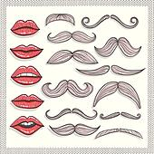 Retro lips and mustaches elements