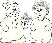 Snowballs with Christmas bouquet, outline