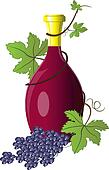 Bottle of wine twined with grape vine with branch of grapes.