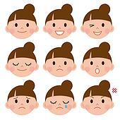 Set of cartoon face emotions