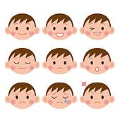 Boy Expressions. Funny cartoon