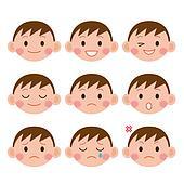 Boy Expressions. Funny cartoon