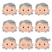 Set of cartoon face emotions
