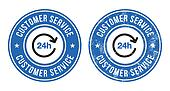 24h customer service retro badges