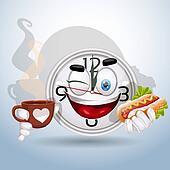 Watch smile enjoying lunch break