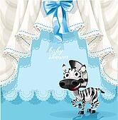 Blue baby shower card with zebra