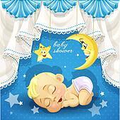 Baby shower card with sleep baby