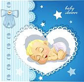 Blue delicate baby shower card