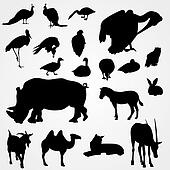 Set of silhouettes animals on zoo