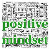 Positive mindset concept in tag cloud