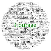 Courage concept in word tag cloud