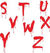 Wet paint font type, letter S to Z