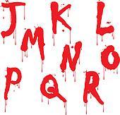 Wet paint font type, letter J to R
