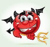 cheerful smile in costume devil